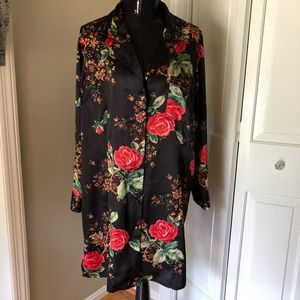 Kim Rogers Intimates nightgown size L black floral